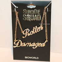 Licensed cool DC  Harley Quinn Suicide Squad Rotten & Damaged BFF Bling Necklace Set