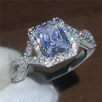 Fashion Princess cut AAAAA zircon Cz ring 925 Sterling Silver Engagement wedding band rings for women men