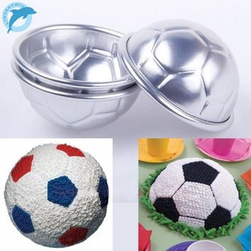 LINSBAYWU 2 Pcs DIY Football Bath Bomb Cake Mold 3D Ball Sphere Non-toxic Cake Chocolate Pan Mold Kitchen Baking Tools