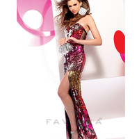 Faviana 2013 Prom - Red & Pink Multicolor Strapless Sequin Prom Gown - Unique Vintage - Cocktail, Pinup, Holiday & Prom Dresses.