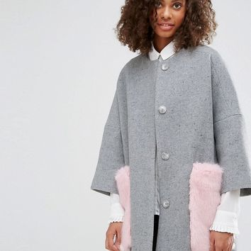 Helene Berman Wool Blend Kimono Coat with Faux Fur Pockets at asos.com