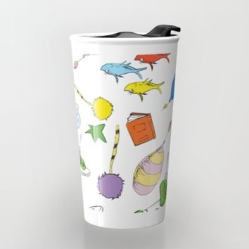 dr seuss pattern.. cat in the hat, lorax, oh the places you'll go, Travel Mug by Studiomarshallarts