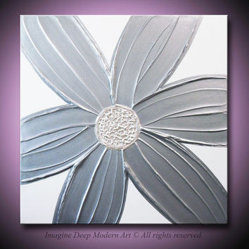 Silver Flower Painting - Metallic Grey Gray, Pearlescent White - Sculptural Abstract Acrylic - 24x24 High Quality Original Fine Art