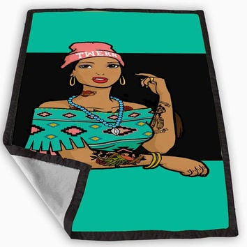 Pocahontas Hipster Blanket for Kids Blanket, Fleece Blanket Cute and Awesome Blanket for your bedding, Blanket fleece **