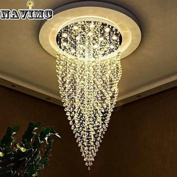 luxury spiral design long light modern crystal chandelier champagne lustre cristal led lamp Dia60*H100cm staircase fixture