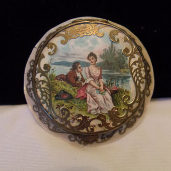 Art Deco 1920s Made in France Powder Mirror Compact Courting Couple Celluloid Brass Details