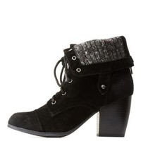 Black Sweater Lined Foldover Boots by Charlotte Russe