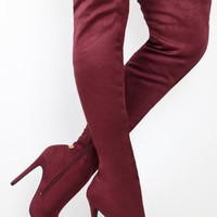 Thigh High Lace Up Detail Boots - Wine
