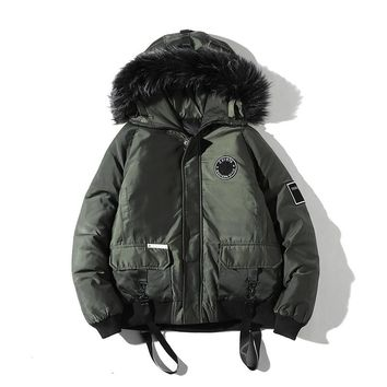 Drop Winter Jacket Men Camouflage Casual Thick Warm Parka Male Fur Hooded Street Style Camo Loose Mens Overcoat ABZ95