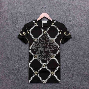 DCKI72 Trendsetter VERSACE Women Man Fashion Print Sport Shirt Top Tee