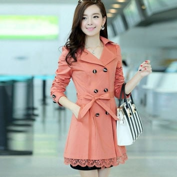 2015 new autumn big yards long section of women's coat Slim women windbreaker Winter jacket = 1956760580