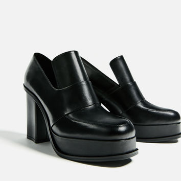 HIGH HEEL LEATHER PLATFORM LOAFERS DETAILS