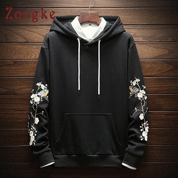 Zongke Chinese Style Embroidery Mens Hoodies Harajuku Streetwear Mens Hoodies Pullover Japanese Hoodie Sweatshirt Male 2018 New