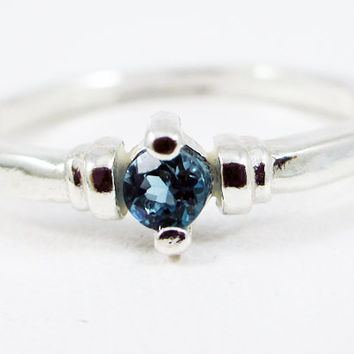 Tiny London Blue Topaz Stacking Ring Sterling Silver, December Birthstone Ring, Sterling Silver Stacking Ring, 925 Topaz Ring