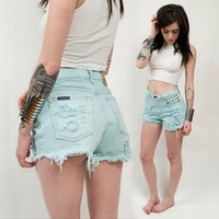 Mint High Waisted Studded Shorts