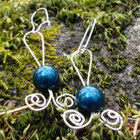 Blue Pearl Silver Coil Earrings