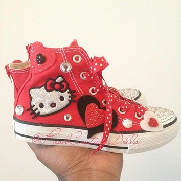 Hello Kitty Theme Inspired Custom Bling Converse