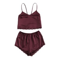Two Piece Burgundy Cami Set