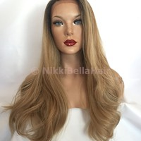 "Ash Blonde Human Multi Parting Hair Blend 22"" Loose Curl Lace Front Wig"