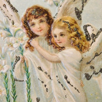 Easter Postcard Angels Applied Glitter Germany Possible Brundage or Clapsaddle Girls 1900s Golden Era Ephemera Antique Embossed Litho Card