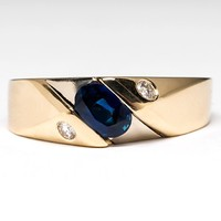 Mens Blue Sapphire & Diamond Band Ring in 14K Gold