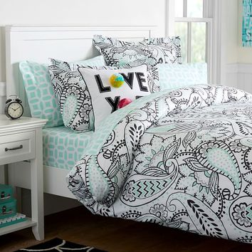 ANA PAISLEY DUVET COVER, FULL/QUEEN, BLACK/LIGHT POOL