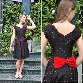 Vintage 1950s dress | size S black and red cotton velvet 50s dress • Red Velvet dress