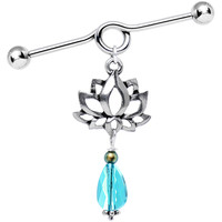 Handcrafted Lotus Industrial Barbell Created with Swarovski Crystals | Body Candy Body Jewelry