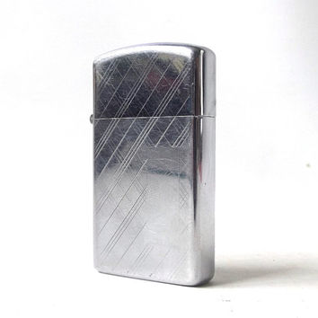 vintage 1970's zippo lighter petite chrome silver plaid personalized smoking cigarettes cigar retro modern metal mens womens collectible