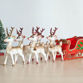 Vintage Plastic Reindeer with Sleigh Christmas Decoration, 1970s Kitsch Holiday Decor with Folding Sled