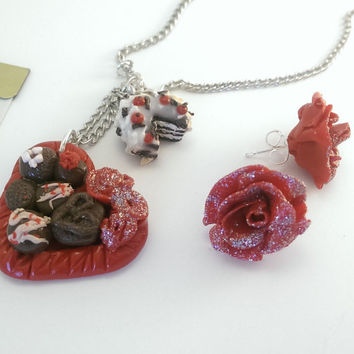 Heart necklace and earrings set, chocolate necklace, handmade, polymer clay, red rose earrings, stud earrings