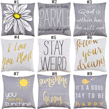 Flower Letter Sunshine Series Chenille Pillowcase Cushion Cover Chair Car Sofa Bed Decoration Home Decor Throw Pillow Case