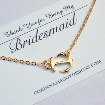 Sideways Anchor  Necklace in Silver or Gold,  bridesmaid gift, beach wedding jewelry, maid of honor gift, mom, sister, bridal jewelry