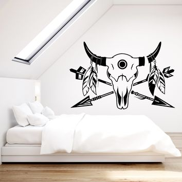 Vinyl Wall Decal Bull's Skull Ethnic Style Arrows Feathers Stickers (2379ig)