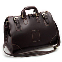 Elite Leather Bags — Vintage Handmade Large Genuine Leather Travel Bag / Luggage Bag/ Duffle Bag