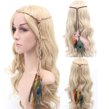 1pc Bohemia Peacock Feather Headband Beads Hair Rope Carnival Festival Headdress Women hair accessories free shipping