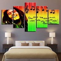 Home Decor HD Print Modular Pictures Wall Art 5 Pieces Bob Marley Canvas Painting For Living Room Music Poster Framework YINJGE