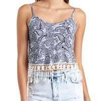 Printed Crochet Fringe Swing Crop Top by Charlotte Russe - Navy Combo