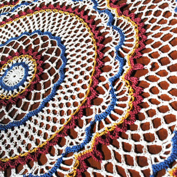 Crochet doily, red, white, and blue, large doily