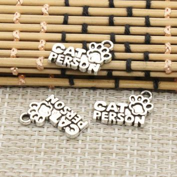 10pcs Charms cat person friend forever 13*18mm Tibetan Silver Plated Pendants Antique Jewelry Making DIY Handmade Craft