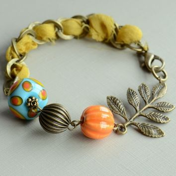 Hello Sunshine Lampwork, Ceramic & Sari Silk Ribbon Bracelet