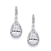 Classic CZ Bridal Earrings with Framed Pear Drops