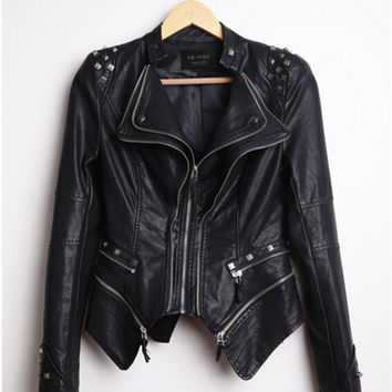 Rivets Shrug Shoulder Pads Biker Faux Leather Jacket Doulbe Lapel Zipper Exposed Asymmetric Coat PU Leather Outwear S - 6XL