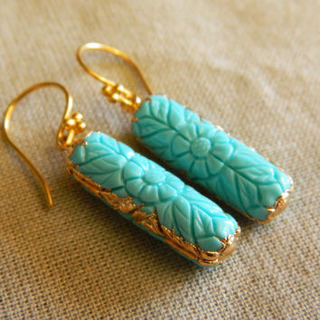 Carved Turquoise Earrings, Turquoise Dangles, Turquoise Gifts