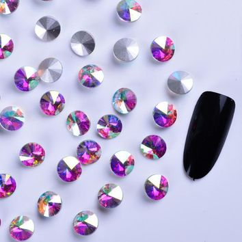 Full Beauty 10PCS Round Starry AB Stones Nail Rhinestones DIY Phone Tips Glass Decorations/Charms/Studs 3D Nail Crystal CH159