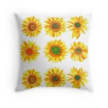 'Sun flower hand painted pattern' Throw Pillow by victorsboutique