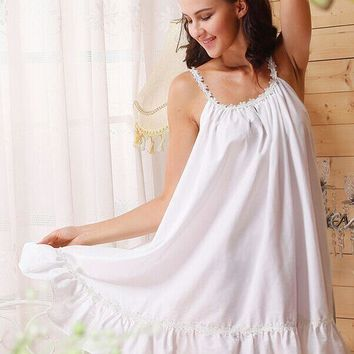 European and American style women nightgowns wellmade new designed lace sunflowers cotton white color sleep dress for ladies