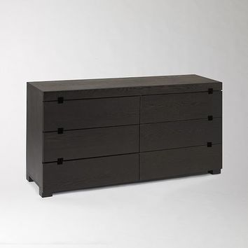 Square Cutout 6-Drawer Dresser - Chocolate