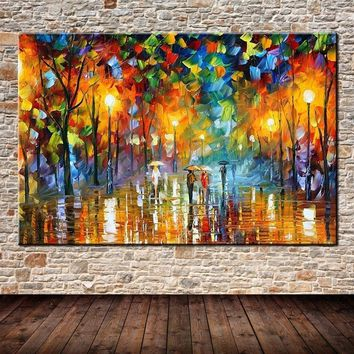 Lovers Rain Stree Tree Lamp Landscape Oil Painting On Canvas Wall Art Picture For Home Decoration Wall Decor