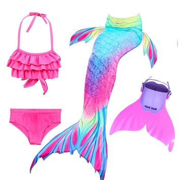 Children Swimming Mermaid Tails With Monofin Fin Cosplay Costume Girls Kids Swimsuit Ariel Swimmable Mermaid Tail for Swimming
